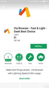 وب گردی سبک با برنامه Via Browser