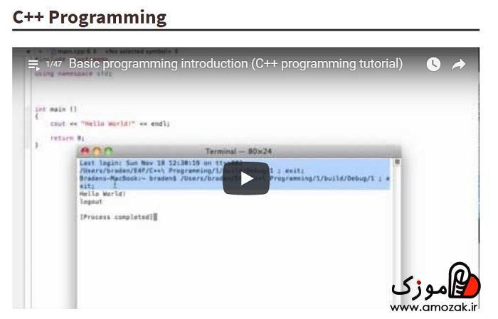 آموزش برنامه نویسی c++ در کانال یوتیوب